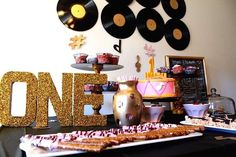 Music themed first birthday party! See more party planning ideas at CatchMyParty.com!