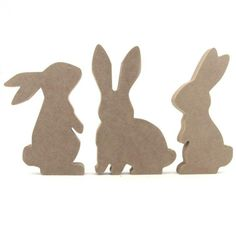 Set of 3 Rabbit / Bunny Shapes - Makers Shed - Custom MDF Craft Shapes and Supplies rabbit silhouette Easter Bunny Ears, Hoppy Easter, Wood Crafts, Diy And Crafts, Rabbit Silhouette, Bunny Templates, Wooden Rabbit, Diy Ostern, Minnie