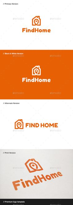 Find Home Logo (AI Illustrator, Resizable, CS, app, application, architecture, brand, branding, construction, corporate, design, find, finder, gps, home, house, identity, local, locator, logo, logotype, map, maps, market, pin, real estate, rent, rental, sale, search, shop, store, studio)