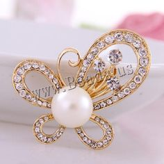 Glass Pearl Brooch, Zinc Alloy, Butterfly, gold color plated, with glass pearl & with rhinestone, nickel, lead & cadmium free, 70x47mm, 10PCs/Lot,china wholesale jewelry beads