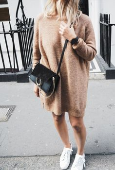oversized sweater dress and white tennis shoes is our favorite in-between winter to spring type of outfit