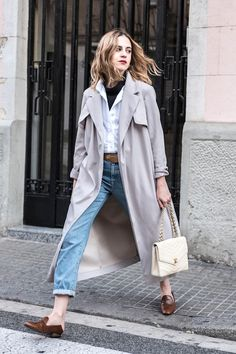 Try This Grey Trench Look For Fall