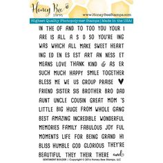 Honey Bee SENTIMENT BUILDER Clear Stamp Set HBST29 Preview Image