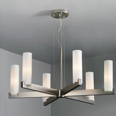 Five-light chandelier inspired by mid-century modern design.