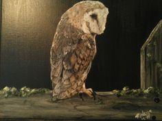 Barn owl on fence painting dec 2014