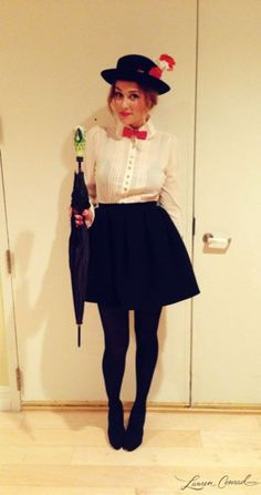 Mary Poppins Mary Poppins: Mary Poppins is a simple costume to put together, and you can get away with a pretty short skirt with the black tights. Source: Lauren Conrad The post Mary Poppins & Fasching appeared first on Halloween costumes . Classy Halloween Costumes, Hallowen Costume, Halloween Make, Cute Costumes, Mary Poppins Halloween Costume, Simple Costumes, Halloween Ideas, Halloween Work Outfit, Halloween 2014