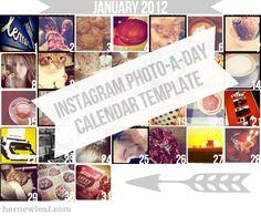 Printable Instagram Photo-a-Day Calendar Template