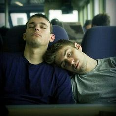 """Cute gay couple """"guy let his couple sleeping in his arm"""""""
