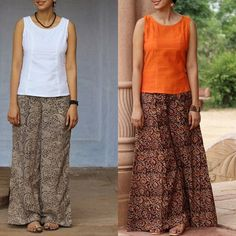 What to Wear with Indian Style Palazzo Pants? – 17 Chic Tops To Try! What to wear with indian style palazzo pants? Here are 17 chic top ideas that will make you look super stylish! Short Kurti Designs, Kurta Designs Women, Salwar Designs, Blouse Designs, Palazzo Pants Indian, Tops For Palazzo Pants, Cotton Palazzo Pants, Palazzo With Kurti, Kalamkari Skirts