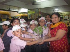 Students of secondary section with sudha teacher planting a sapling. #treplantation #sapling #school