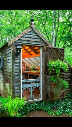 Garden Shed with Screen Door