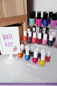 Cute idea. Display your nail polishes in a fancy way at your at home spa!