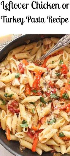 Turkey Pasta Skillet, a fast and easy leftover turkey recipe, perfect weeknight or weekend meal, a delicious healthy turkey or chicken skillet dish. Leftover Ground Beef Recipe, Easy Leftover Turkey Recipes, Leftovers Recipes, Ground Turkey Recipes, Turkey Leftovers, Cooked Chicken Recipes Leftovers, Dinner Recipes, Chicken Skillet Recipes, Pasta Recipes