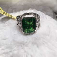 Ring Helenite 4.6 carat diamond ring in platinum overlay sterling silver nickel free TDW .03 carats TGW 4 .63 carats Jewelry Rings
