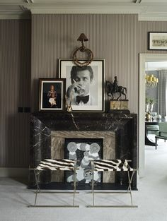 10 Fabulous Variations on a Striped Room - Thou Swell : Black marble fireplace with brown pinstripe walls on Thou Swell Apartment Interior Design, Modern Interior Design, London Living Room, Design Salon, Design Design, Design Trends, Design Ideas, Striped Room, Masculine Interior