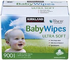 Kirkland Signature Ultra Soft Tencel Baby Wipes, 9 Packs of 100 Large Wipe size 18 cm × cm in × 8 in) Hypoallergenic, paraben free and alcohol free Unique Tencel fiber Unscented Costco Shopping, Drugstore Skincare, Baby Towel, Parenting Fail, Baby Care, Biodegradable Products, Baby Gifts, Gift Registry, Vitamin E