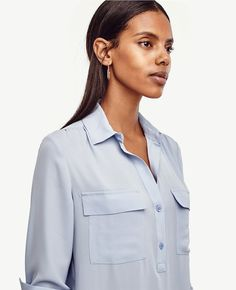 Shop Ann Taylor for effortless style and everyday elegance. Our Popover Camp Shirt is the perfect piece to add to your closet. Blue Pearl, Blue Satin, Ann Taylor, Colorful Shirts, Spring Fashion, Long Sleeve, Model, Tops, Point Collar