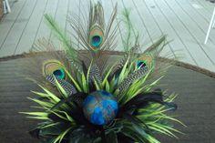 Peacock Feather arrangements   Peacock Feather Floral Arrangement Centerpiece
