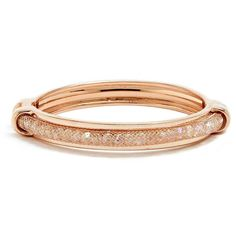 GUESS Patricia Mesh Bracelet ($28) ❤ liked on Polyvore featuring jewelry, bracelets, rose gold, guess jewellery, bracelet jewelry, hinged bangle, sparkle jewelry and hinged bracelet