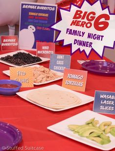 Plan for a Big Hero 6 Movie and Dinner Family Night complete with free printables for a special Baymax burrito menu. Food names are based on characters from Disney Big Hero 6 movie.