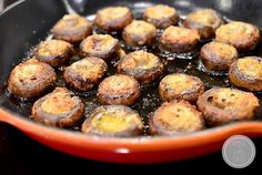 Easy Garlic Butter Roasted Mushrooms is an easy yet impressive side dish recipe that's totally mouthwatering!   iowagirleats.com