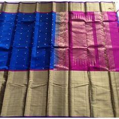 KSS2100009-THAMBOORI s Handwoven Soft Kanchivaram Silk-Royal Blue Pink, 750 g