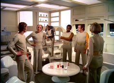 Space 1999 - Moonbase Alpha interior. Looks like a very important meeting.