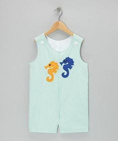 Take a look at this Green Sea Horse Seersucker Shortalls - Infant & Toddler by Wiggles and Giggles on #zulily today!
