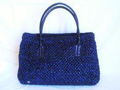 Hand bag in rafia blu by AnnAltamuraCreazioni on Etsy