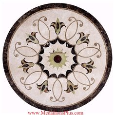 Medallions Plus provides specialty stone products like floor medallions made of marble, travertine, tile and more. Foyer Design, Tile Design, Epoxy Sol, Wall Painting Decor, Stone Cladding, Hand Painted Plates, Stone Flooring, Antique Shops, Mandala Design