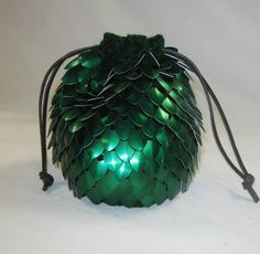 Dice Bag in Scale Mail Knitted Armor Dragonhide by Crystalsidyll, $39.00