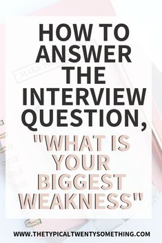 How to answer the job interview question, what is your biggest weakness. Answering this question is easy with these tips. Job Interview Quotes, Most Common Interview Questions, Interview Questions And Answers, Biggest Weakness Interview, Interview Weakness Answers, Job Search Tips, Career Advice, Job Career, Cv Advice