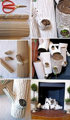 how to make fake logs for your fireplace.. this is a clever idea!