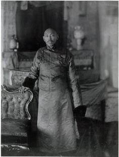 A photograph of the 13th Dalai Lama taken in Calcutta in 1910 and copied by Frederick Spencer Chapman in 1936, possibly whilst on a visit to the house of Bhondong Shappe.