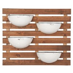 Plant herbs in the Foreside Home and Garden Enamel Pot Wall Planter and use as a centerpiece of your cooking kitchen. Or use this wall planter in your. Hanging Wall Planters, Wood Planters, Porch Planter, Planter Garden, Garden Beds, Wood Slat Wall, Wood Slats, Tin Walls, Metal Walls