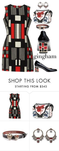 """gingham dress"" by alenaglush ❤ liked on Polyvore featuring Alexander McQueen and Casadei"
