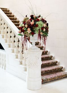 Grace your entry with an Elegant Marsala, arrangement either on an staircase or table! !