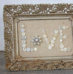 Vintage Inspired Burlap Button Love in Rusty by ClothandPatina