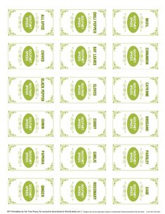 Spice Jar Labels Printable