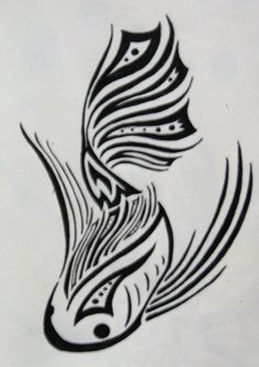 Tribal Koi by ~silveraquila Tribal Henna, Tribal Art, Koi Art, Fish Art, Tribal Tattoo Designs, Tribal Tattoos, Cute Tattoos, Body Art Tattoos, Koi Fish Tattoo