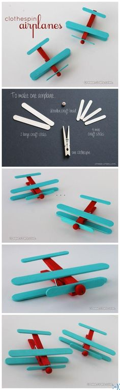 This DIY planeis another way of utilizing clothespin and sticks. You can make very cute planes for the child's room decoration in no time. source : pinterest