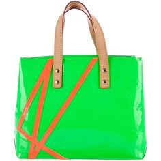 Pre-owned Louis Vuitton Vernis Robert Wilson Reade PM ($395) ❤ liked on Polyvore featuring bags, handbags, green, green purse, monogrammed leather purse, leather purses, top handle handbags and monogrammed purses