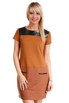 Faux Leather Trim Shift Dress via Amazing Fashion!. Click on the image to see more! Cold Shoulder Dress, Amazing, Leather, Image, Dresses, Fashion, Vestidos, Moda, Fashion Styles