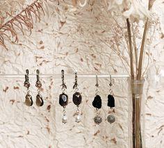 серьги с раухтопазами, жемчугом и пиритом (метеорит)