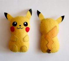 I realy liked the pikachu bag i made ([link]) so i decided to make a plushie based on it. Should i make more pokemon themed plushies? I'm selling it here: (Check out my tumbler p. Festa Pokemon Go, Pokemon Party, Pikachu Pikachu, Plushie Patterns, Felt Patterns, Sewing Patterns, Sewing Crafts, Sewing Projects, Bricolage Facile