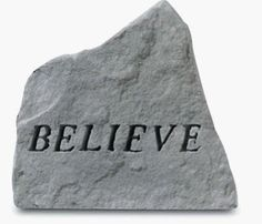 Kay Berry - Believe by Kay Berry. $30.54. Great Gift Idea.. Manufactured to the Highest Quality Available.. Design is stylish and innovative. Satisfaction Ensured.. Create a special corner in your garden with this beautiful monument  made of rough cast stone. Engraved with - Believe.  Kay Berry products are made of cast stone in Saxonburg PA. They are made to be weatherproof. All of the decorative stones have a hangar cast into the backs to allow display on walls  fences  o...