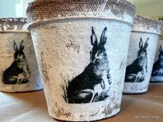 Spring Crafts tutorial for these cute bunny peat pots--free printable from fun.kyti.me