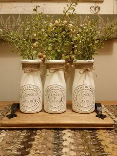 Youngsters Area Home Furnishings Bottle Centerpiece Milk Bottle Decor Vase Centerpiece Country Table Centerpieces, Jar Centerpieces, Vases Decor, Wedding Centerpieces, Mason Jar Crafts, Mason Jar Diy, Bottle Crafts, Diy Bottle, Dollar Tree Decor