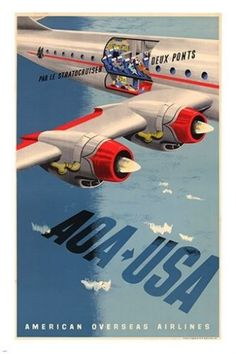 aoa usa STRATOCRUISER AIRLINER vintage travel poster SPORTY CLASSIC 24X36