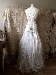 Wedding dress, vintage inspired wedding dress , statement ,unique ,handmade , bohemian beach wedding , antique lace wedding dress